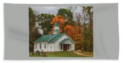 An Old Ohio Country Church In Fall Beach Towel
