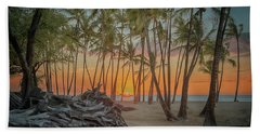 Beach Towel featuring the photograph Anaehoomalu Beach Sunset by Susan Rissi Tregoning