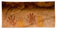 Anasazi Painted Handprints - Utah Beach Sheet