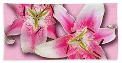 Anastasia Lilies On Pink Beach Sheet