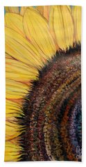 Beach Towel featuring the painting Anatomy Of A Sunflower by Ecinja Art Works