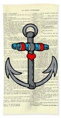 Anchor Tattoo Heart Color  Beach Towel