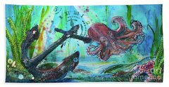 Beach Towel featuring the painting Anchors Away by TM Gand