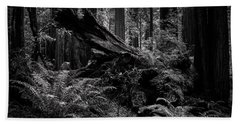 Beach Towel featuring the photograph Ancient Forest Black And White by TL Mair