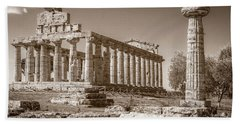 Ancient Paestum Architecture Beach Sheet