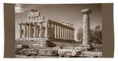 Ancient Paestum Architecture Beach Towel