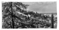Beach Towel featuring the photograph Ancient Walls Of Florence-bandw by Sonny Marcyan
