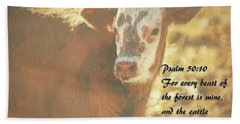 And The Cattle Beach Towel by Janice Rae Pariza