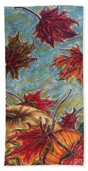 And The Leaves Came Tumbling Down Beach Sheet by Kim Jones