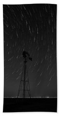 And The Stars Rained Down Black And White Beach Towel by Karen Slagle