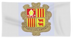 Beach Sheet featuring the drawing Andorra Coat Of Arms by Movie Poster Prints
