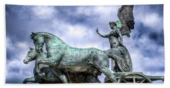 Beach Towel featuring the photograph Angel And Chariot With Horses by Sonny Marcyan