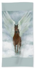 Angel Horse Running Free Across The Heavens Beach Towel