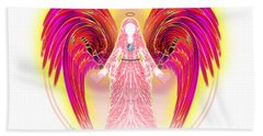 Beach Towel featuring the digital art Angel Intentions Divine Timing by Barbara Tristan