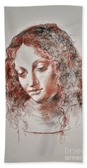 Beach Towel featuring the drawing Angel Madonna by Maja Sokolowska