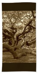 Angel Oak In Sepia Beach Towel
