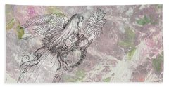 Angel On Pink And Green Florals Beach Towel