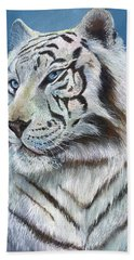 Beach Towel featuring the painting Angel The White Tiger by Sherry Shipley