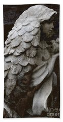 Angel With Dove Of Peace - Angel Art Textured Print Beach Towel