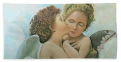 Beach Towel featuring the painting Bouguereau Angels- My Adaptation by Rosario Piazza