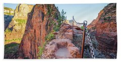 Angels Landing Hiking Trail Beach Sheet by JR Photography