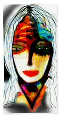 Beach Towel featuring the mixed media Angie by Ann Calvo