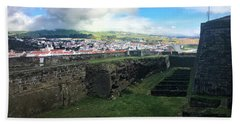 Beach Towel featuring the photograph Angra Do Heroismo From The Fort Of Monte Brasil  by Kelly Hazel
