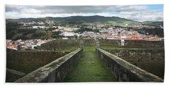 Angra Do Heroismo From The Fortress Of Sao Joao Baptista Beach Towel