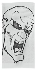Beach Towel featuring the drawing Angry Cartoon Zombie by Yshua The Painter