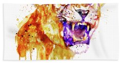 Angry Lioness Beach Towel