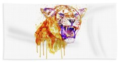 Beach Towel featuring the mixed media Angry Lioness by Marian Voicu