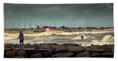 Angry Surf At Indian River Inlet Beach Towel
