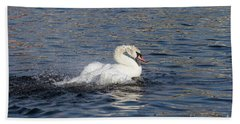 Angry Swan On The Water Beach Towel by Michal Boubin