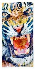 Angry Tiger Watercolor Close-up Beach Towel