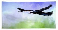 Anhinga In Flight Beach Sheet