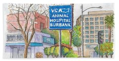 Anibal Hospital Burbank In Olive St., Burbank, California Beach Sheet by Carlos G Groppa