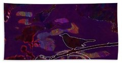 Beach Sheet featuring the digital art Animal Bird Dark Nature Silhouette  by PixBreak Art