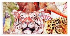 Animal Collage Digital Art Beach Towel