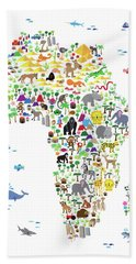 Animal Map Of Africa For Children And Kids Beach Towel