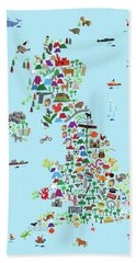 Animal Map Of Great Britain And Ni For Children And Kids Beach Towel