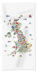 Animal Map Of Great Britain For Children And Kids Beach Towel
