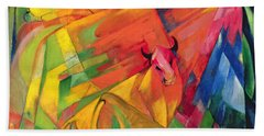 Animals In A Landscape Beach Sheet by Franz Marc