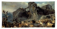Animals Leaving The Ark, Mount Ararat  Beach Towel by Filippo Palizzi