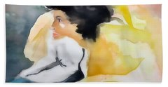 Ann Watching Tv - Digitalart Beach Towel