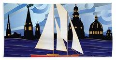 Annapolis Skyline Red Sail Boat Beach Sheet