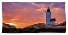 Annisquam Lighthouse Sunset Gloucester Ma Beach Towel by Michael Hubley