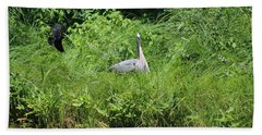 Annoyed - Heron And Red Winged Blackbird 1 Of 10 Beach Towel