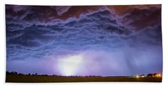 Another Impressive Nebraska Night Thunderstorm 007 Beach Sheet