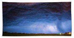 Another Impressive Nebraska Night Thunderstorm 008/ Beach Towel