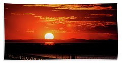 Antelope Island Marina Sunset Beach Towel